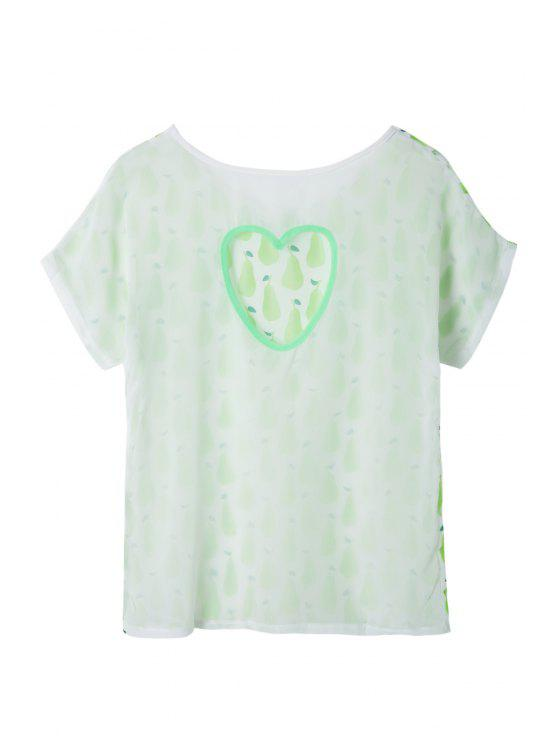 ladies Pear Print Short Sleeve T-Shirt - WHITE AND GREEN S