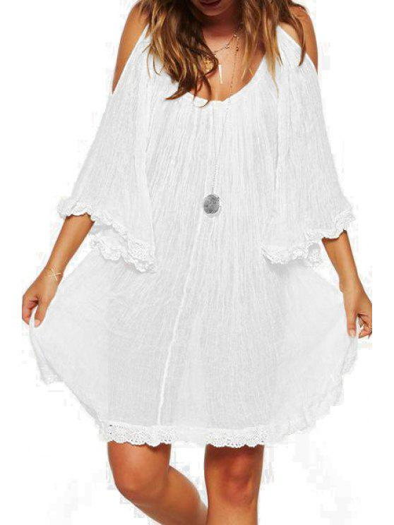 sale Light Coffee Off The Shoulder Backless Dress - WHITE L