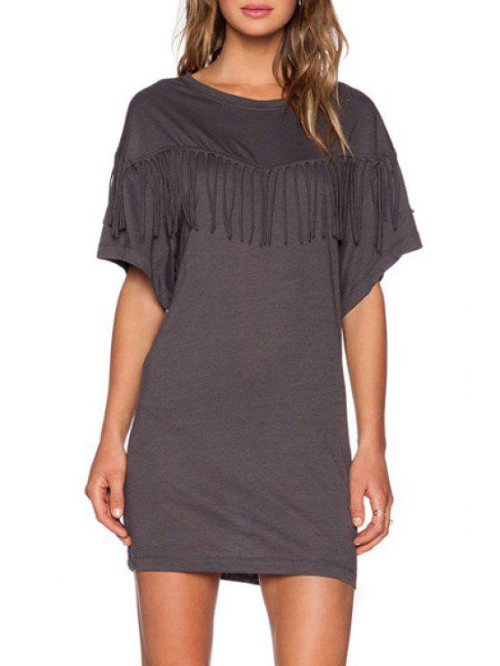 latest Bat-Wing Sleeve Tassels Spliced Gray Mini Dress - DEEP GRAY M