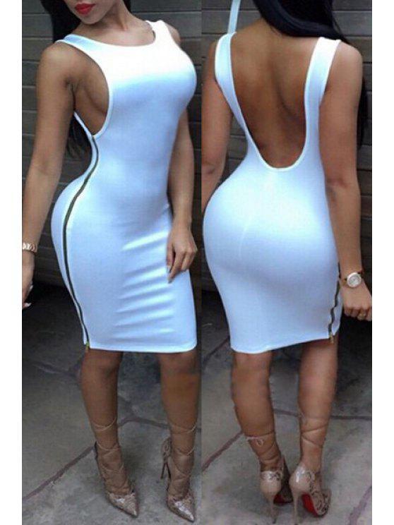 affordable Jewel Neck Backless Solid Color Dress - WHITE M