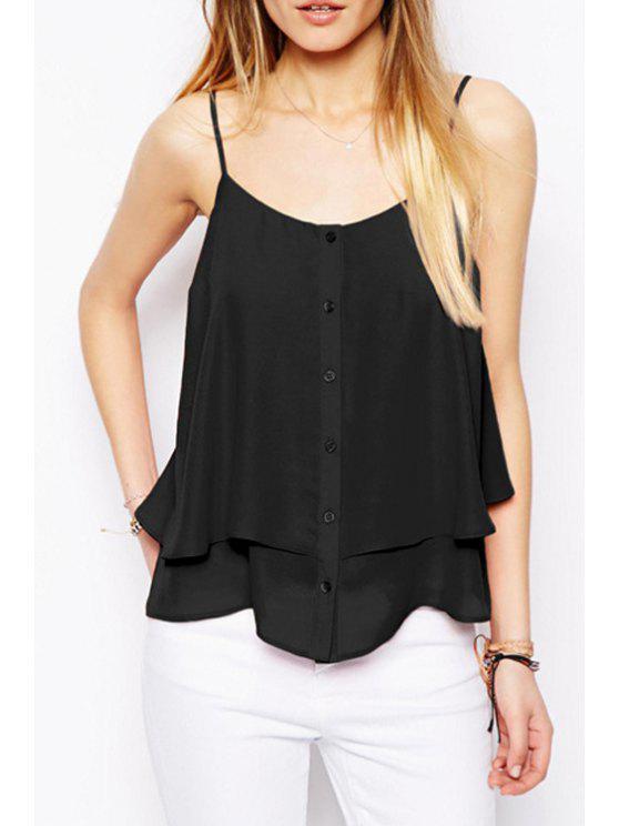 women's Single-Breasted Spaghetti Strap Tank Top - BLACK XL
