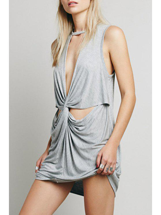 womens Solid Color Cut Out Ruched Crisscross Dress - GRAY S