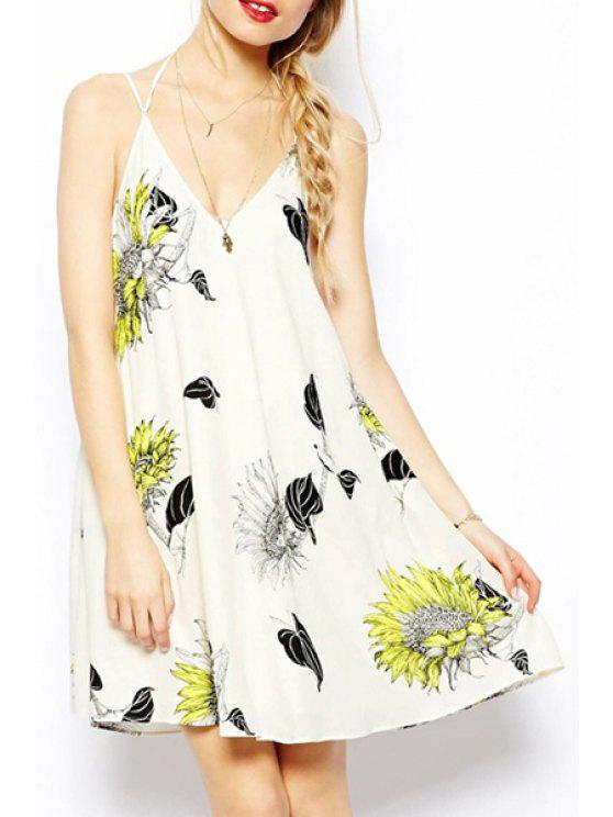 new Sunflower Print Spaghetti Strap Dress - WHITE S