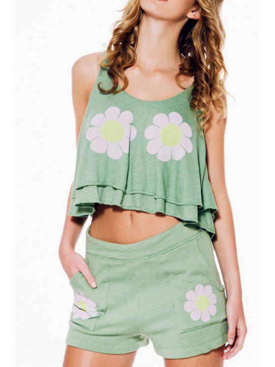 women Flowers Print Sleeveless Crop Top - LIGHT GREEN S