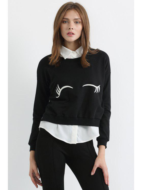 sale White Eyelash Print Long Sleeve Sweatshirt - BLACK XL