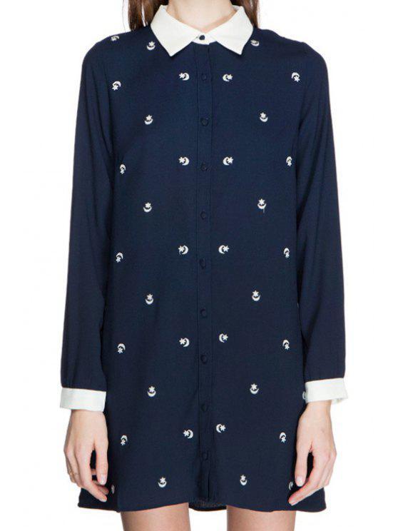 lady Star Embroidery Long Sleeve Shirt - CADETBLUE S