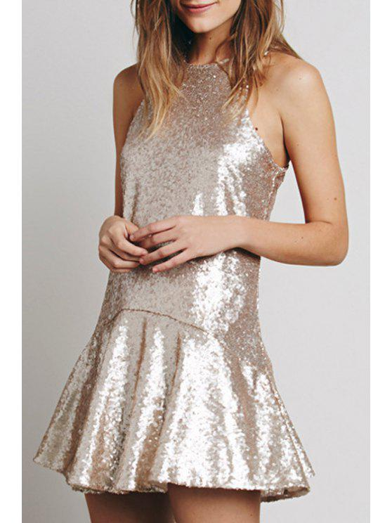 online Sequined Open Back A-Line Club Dress - OFF-WHITE S