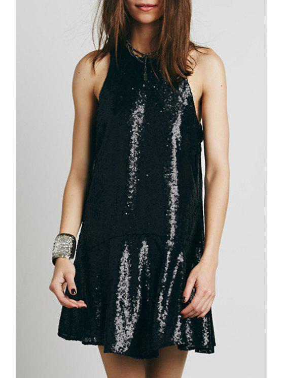 trendy Sequined Open Back A-Line Club Dress - BLACK M