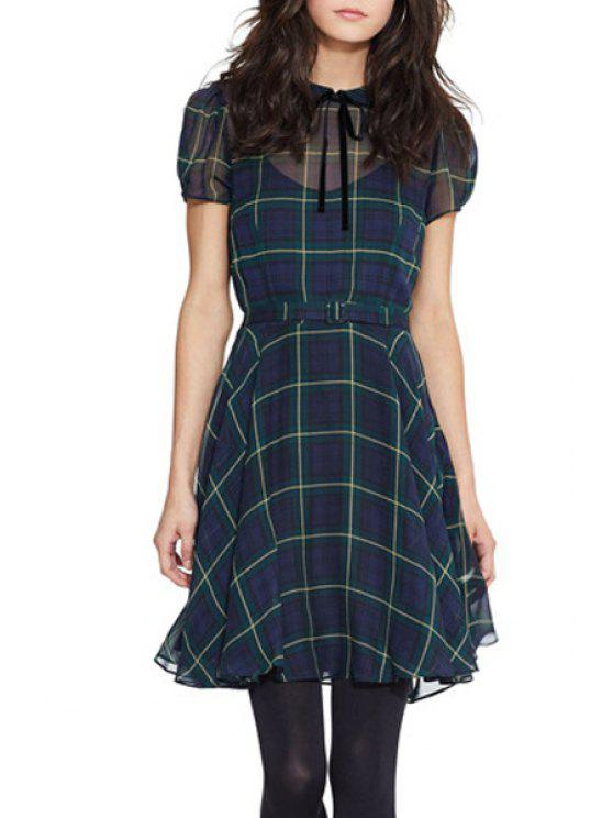 affordable Plaid See-Through A-Line Dress - BLUE AND GREEN S