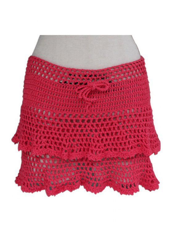 sale Openwork Solid Color Crochet Skirt - RED ONE SIZE(FIT SIZE XS TO M)