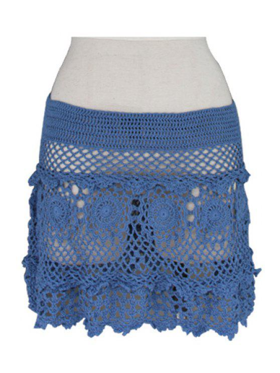 buy Solid Color Openwork Crochet Skirt - BLUE ONE SIZE(FIT SIZE XS TO M)