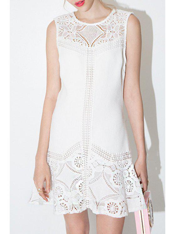 fancy Lace Spliced A-Line White Dress - WHITE XL