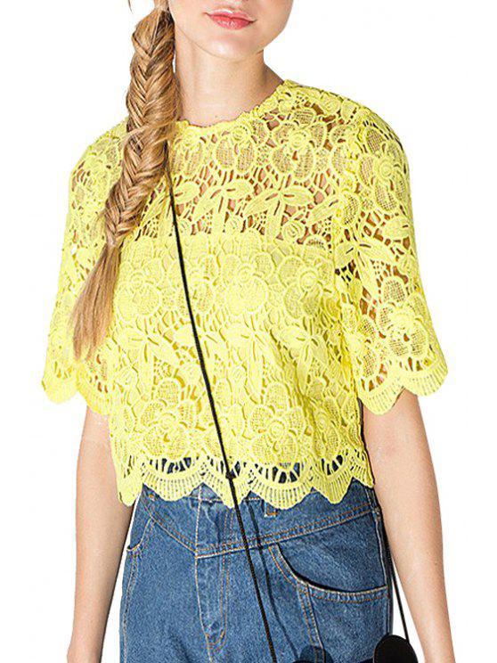 latest Yellow Lace Short Sleeve T-Shirt - YELLOW S