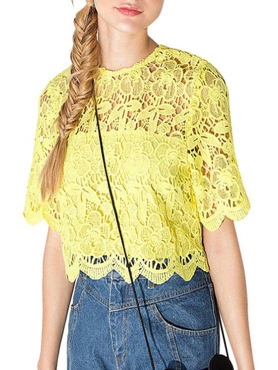 latest Yellow Lace Short Sleeve T-Shirt - YELLOW S
