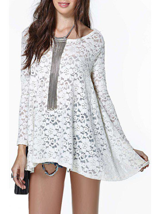 online White Lace Long Sleeve T-Shirt - WHITE S
