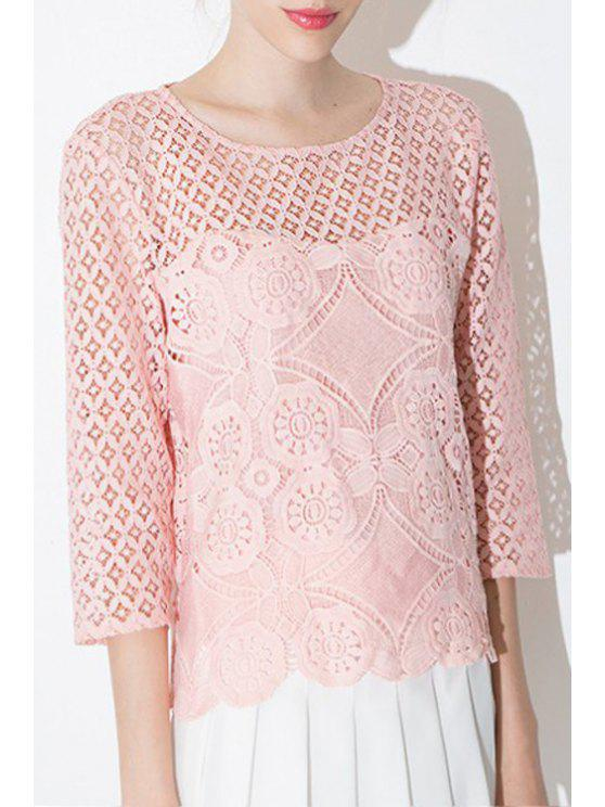 unique Crochet Flower Lace Pink Blouse - PINK S