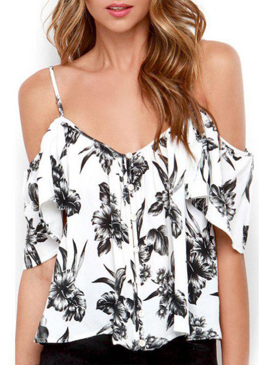 trendy Floral Print Single-Breatsed Chiffon Blouse - WHITE L