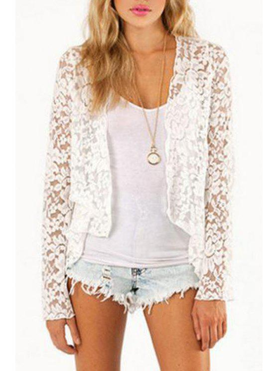 affordable White Lace Long Sleeve Coat - WHITE S
