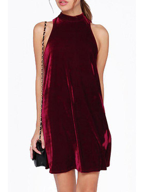 lady Solid Color Stand Neck Sleeveless Dress - PURPLISH RED S