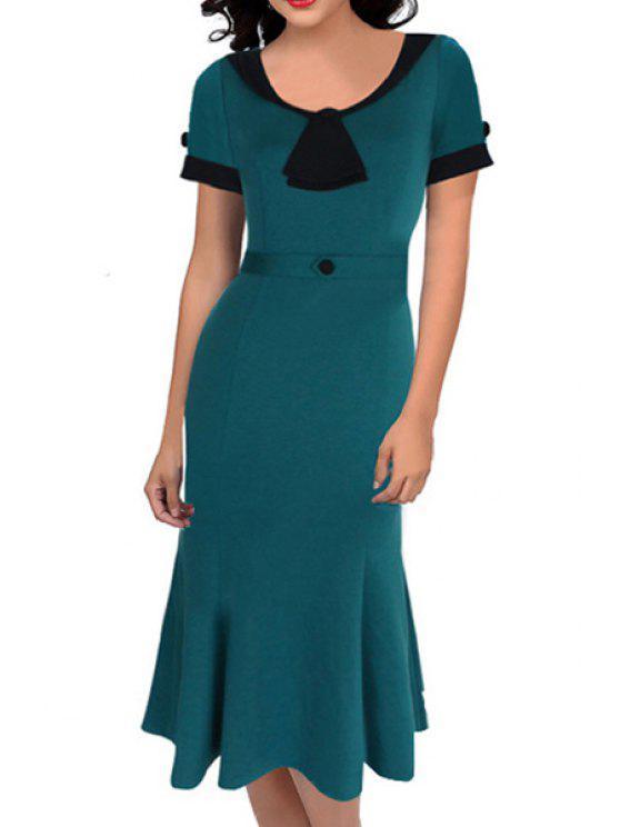 women Black Green Splicing Short Sleeve Dress - GREEN S