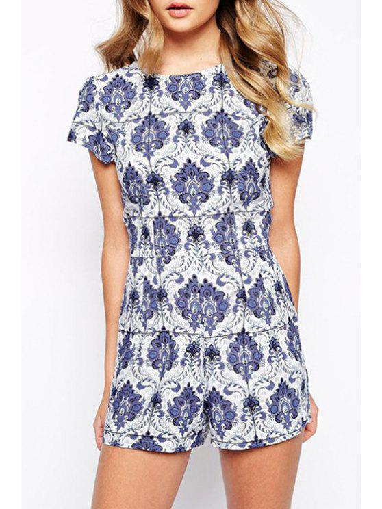 buy Blue and White Porcelain Print Playsuit - BLUE AND WHITE S