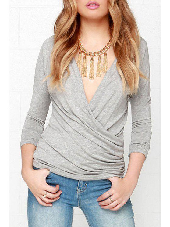 new Solid Color Crisscross Ruched T-Shirt - GRAY S
