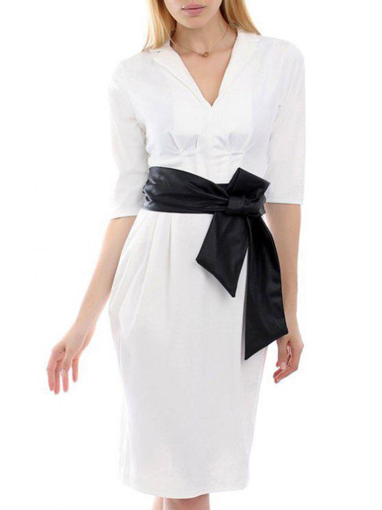 buy Bold Belt Delicate Ruched Design Half Sleeve Dress - WHITE S