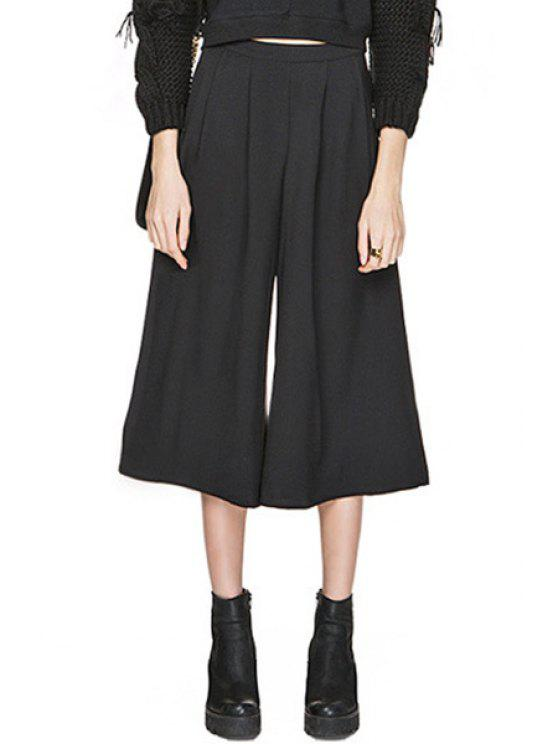 affordable Black Wide Leg High Waisted Capri Pants - BLACK S