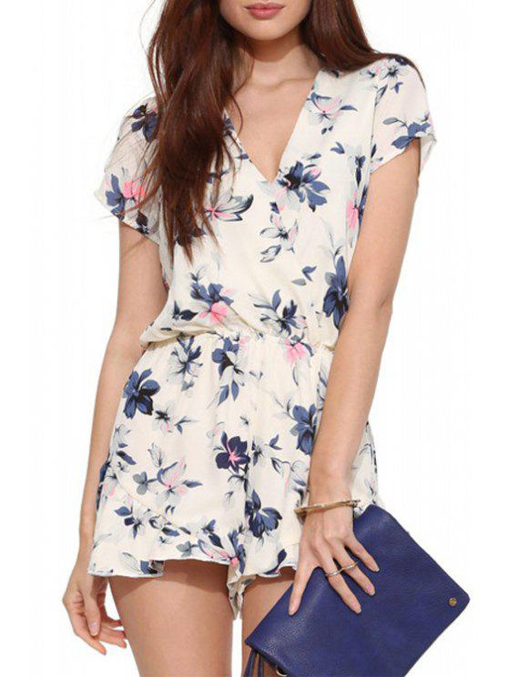 buy Floral Chiffon V Neck Short Sleeve Playsuit - OFF-WHITE 2XL