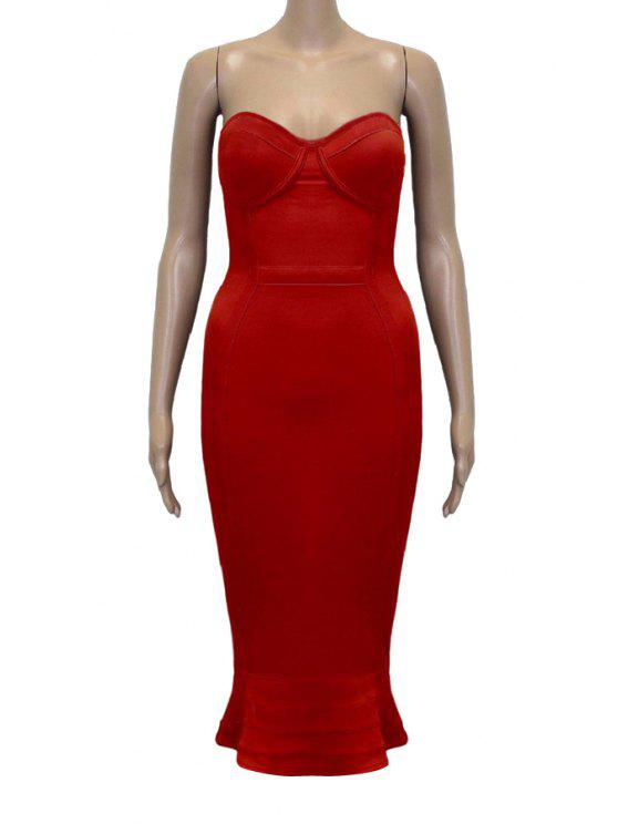 new Strapless Solid Color Fitted Sleeveless Dress - RED S