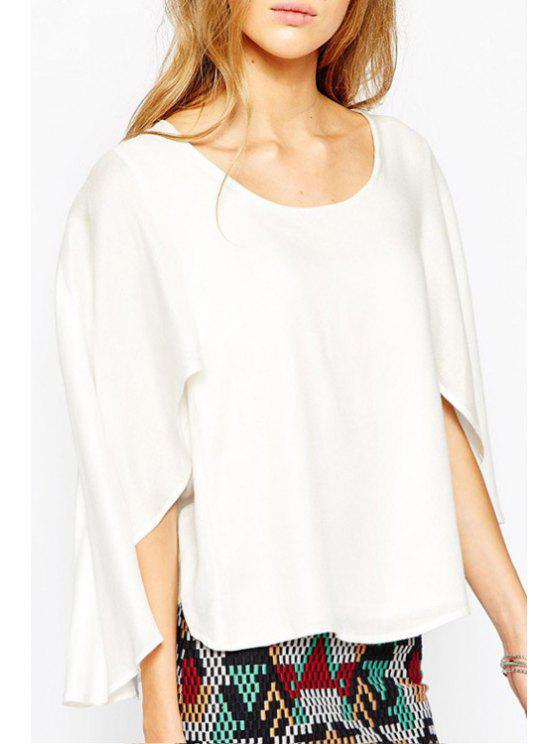shop Chiffon White Half Sleeve Blouse - WHITE S