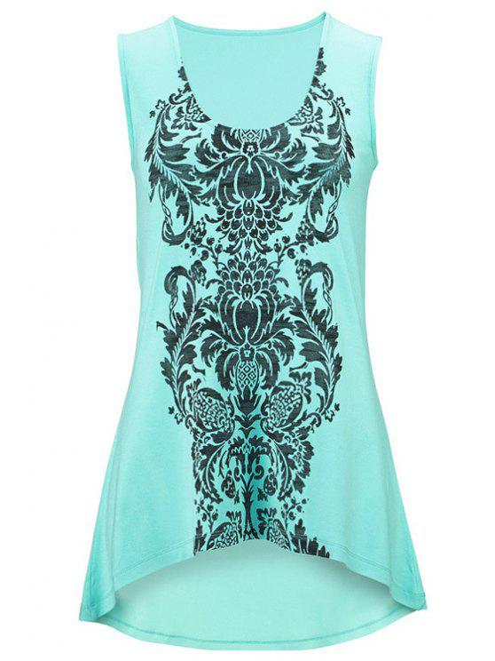 Totem Print High-Low Hem Tank Top - Glauque S