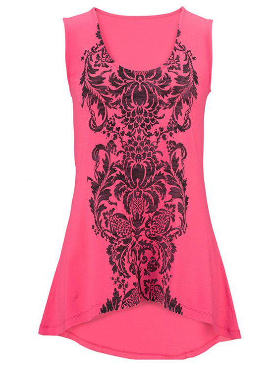 Totem Print High-Low Hem Tank Top - Rose XL