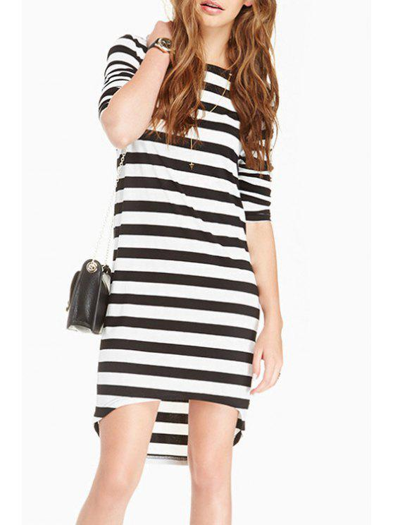 women's Knitted High-Low Hem Stripes Sweater Dress - WHITE AND BLACK S