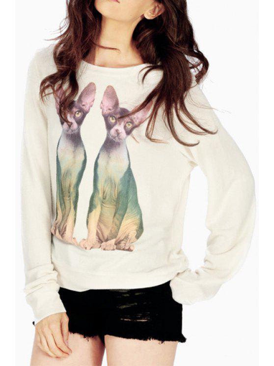 womens Kittens Print Long Sleeves Sweatshirt - MILK WHITE S