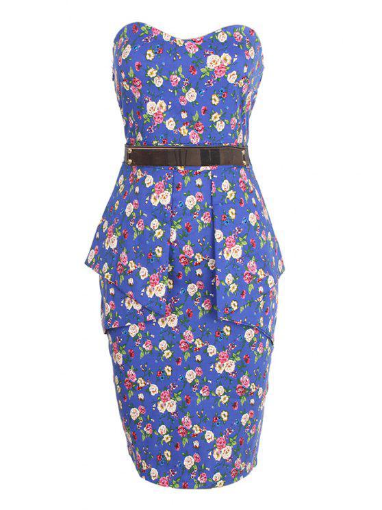 latest Strapless Tiny Floral Print Belt Sleeveless Dress - LIGHT BLUE S