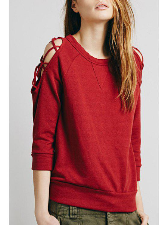 trendy Red Hollow Loose-Fitting Sweatshirt - RED L