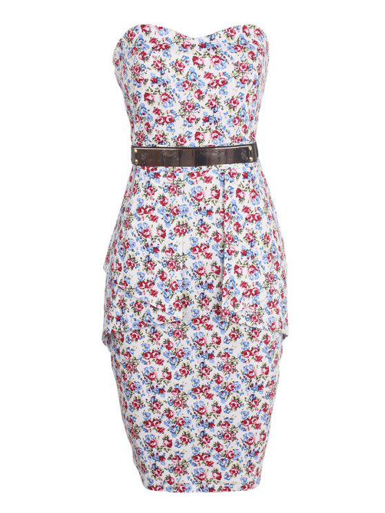buy Strapless Belt Tiny Floral Print Sleeveless Dress - RED S