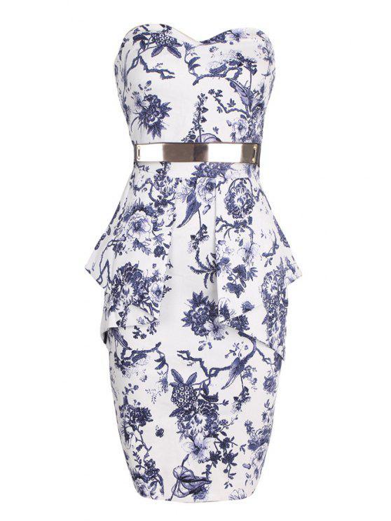 latest Strapless Belt Floral Print Sleeveless Dress - WHITE S
