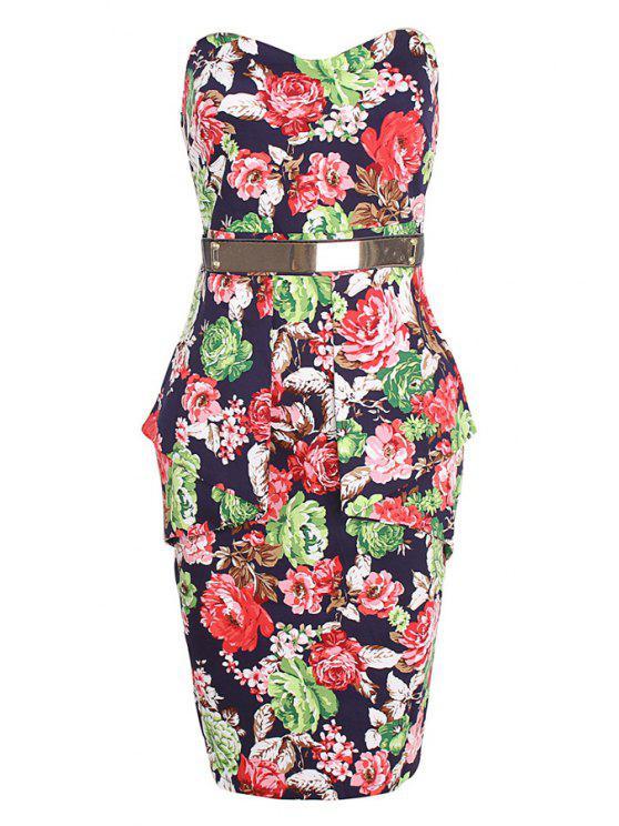 buy Strapless Color Block Floral Print Sleeveless Dress - PURPLISH BLUE S