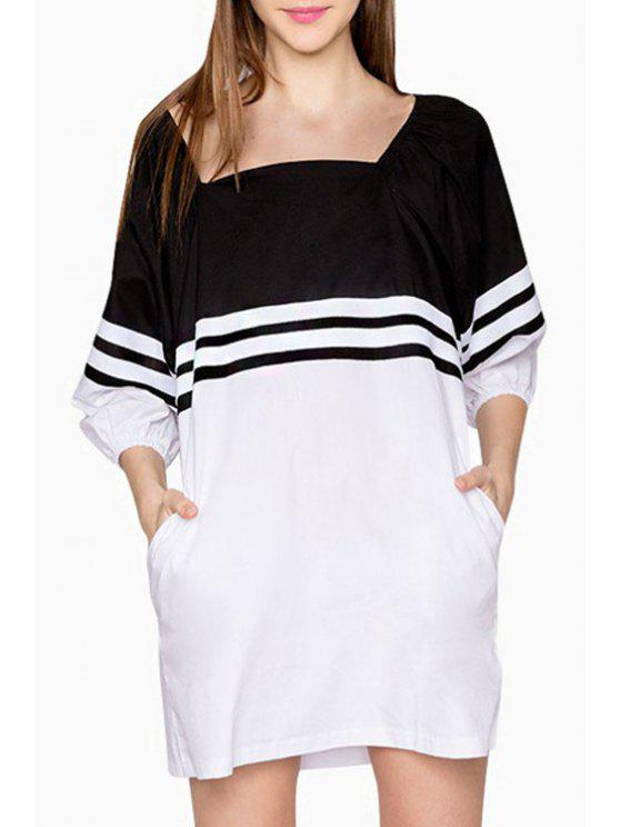 latest Stripes Spliced Square Neck 3/4 Sleeve Dress - WHITE AND BLACK S
