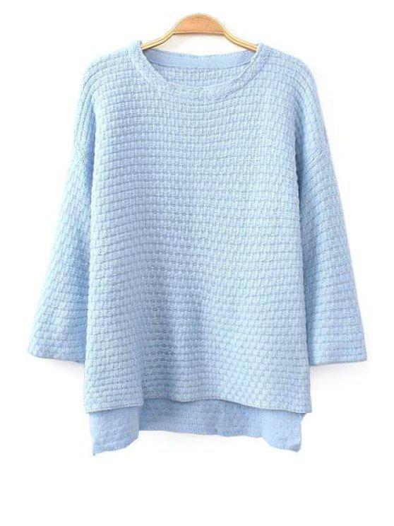 unique Pure Color High-Low Hem Sweater - BLUE ONE SIZE(FIT SIZE XS TO M)