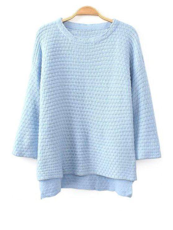 unique Pure Color High-Low Hem Sweater - BLUE ONE SIZE(FIT SIZE XS TO M)