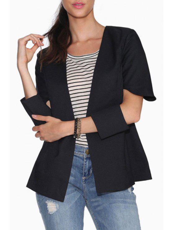 ladies Solid Color Hollow 3/4 Sleeve Blazer - BLACK S