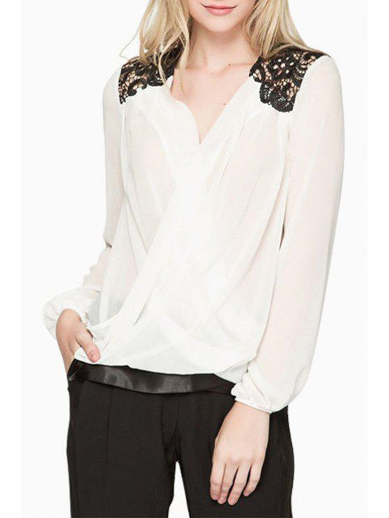 best Lace Splicing Chiffon Long Sleeve Blouse - WHITE S