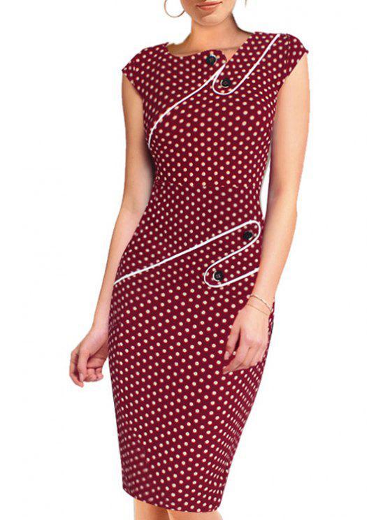 shop Polka Dot Button Embellished Short Sleeve Dress - RED S