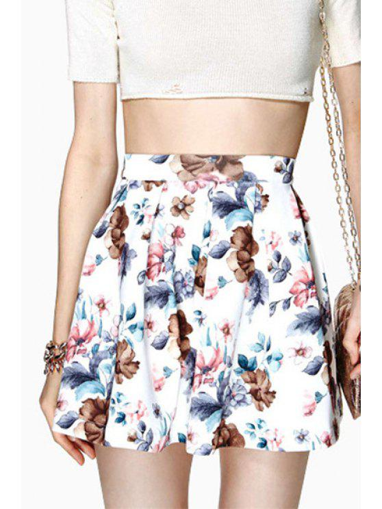 best Floral Print High Waisted A Line Skirt - COLORMIX S