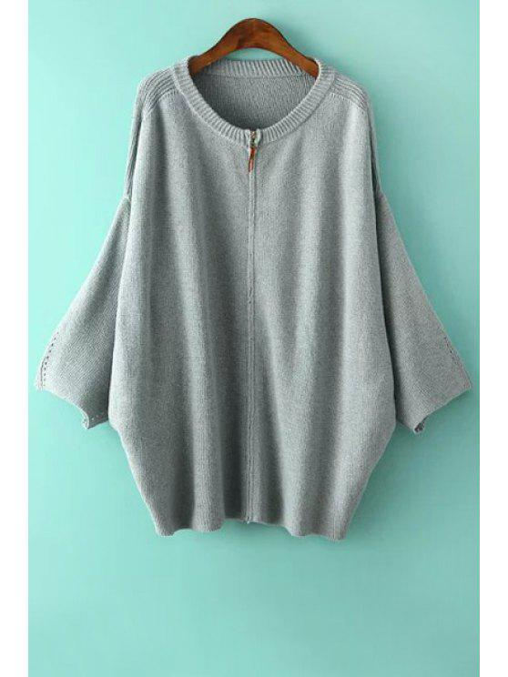 shops Solid Color Zippered Loose-Fitting Cardigan - LIGHT BLUE ONE SIZE(FIT SIZE XS TO M)
