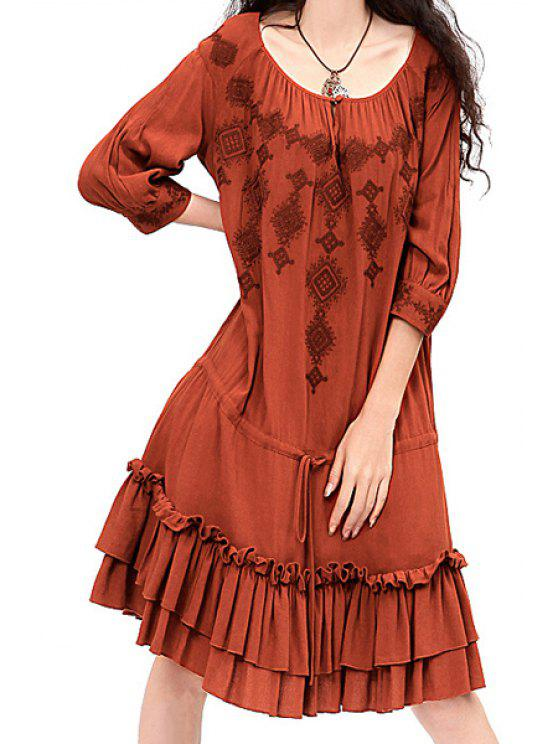 trendy Embroidery Scoop Neck Half Sleeve Dress - BRICK-RED S