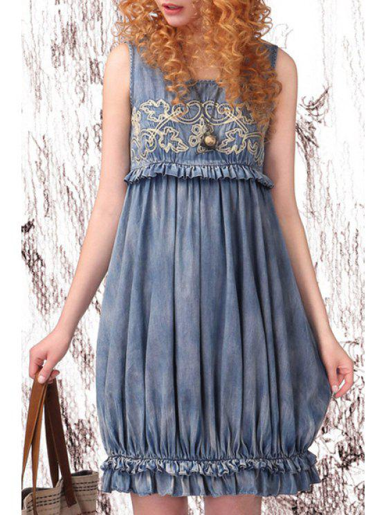 fancy Embroidery Denim Scoop Neck Sundress - LIGHT BLUE S